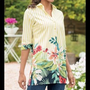Soft surroundings Striped Floral Tunic top 1x